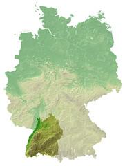 Baden-Württemberg - topografische Relief Karte Deutschland