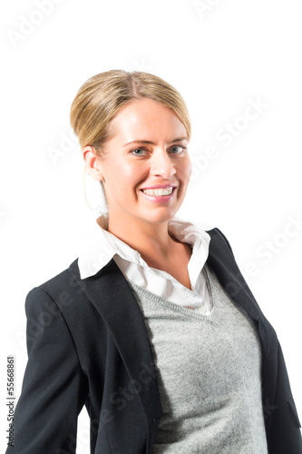 Young woman with white background