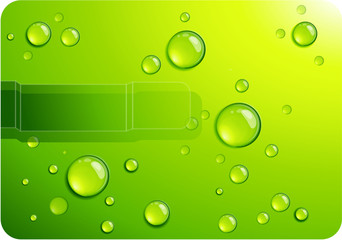 Clear green water drops. Vector background.