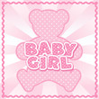 Teddy Bear Baby Girl, pastel pink polka dots, rick rack frame