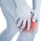 Young man with knee pain, isolated on white