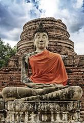 Stone statue of a Buddha in Wat Yai Chai Mongkhon ,Thailand.