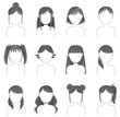 Silhouette hairstyle icon collection set