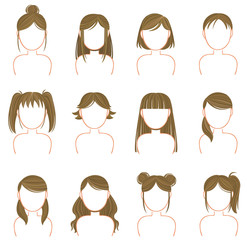 Gold hairstyle icon collection set