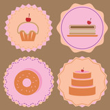 Variety of bakery icon color badges