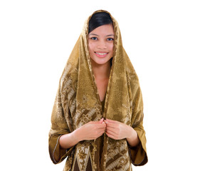 young muslim woman with traditional dress on white background