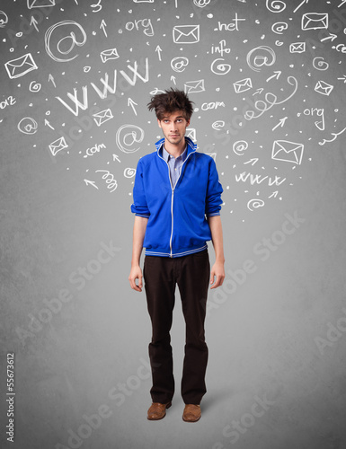 Casual young man with abstract white media icon doodles