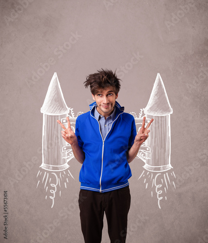 Cute man with jet pack rocket drawing illustration