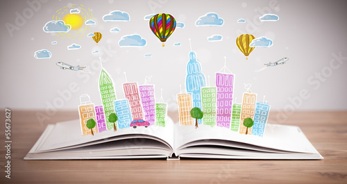 cityscape drawing on open book