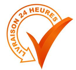 livraison 24 heures sur symbole validé orange