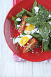 fresh salad with spinach and egg