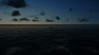 Oil Rig, flight across ocean, timelapse sunrise