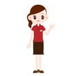 赤色ポロシャツの制服の女性