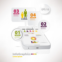 Modern vector elements for infographics with white smartphone