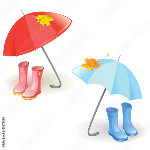 set with umbrella and rubber boots
