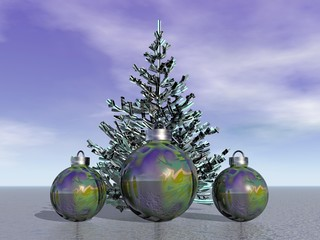 firtree and balls and Christmas