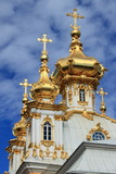 Golden domes at Peterhof Palace in Saint Petersburg, Russia