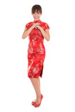 Chinese cheongsam female greeting