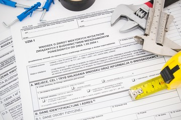 Polish tax form and tools. Credit for home construction.