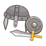 warrior equipment isolated illustration