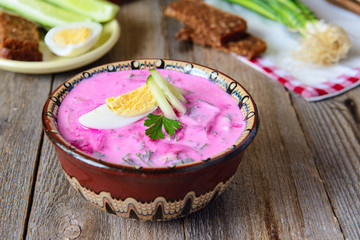 Beetroot soup with egg and yougurt
