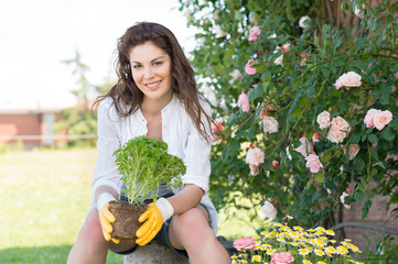 Woman Holding Plant While Gardening