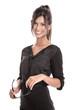 Attraktive Geschäftsfrau mit Brille isoliert in schwarzem Kleid