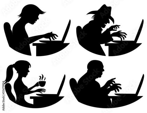 Vector silhouettes. People and computer.