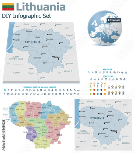 Lithuania maps with markers
