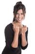 Junge Frau lachend isoliert, Beruflich erfolgreich, Karrierefrau