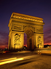 Floodlit Arc De Triomphe Paris