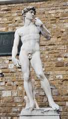 Statue replica of David by Michelangelo, Florence, Italy