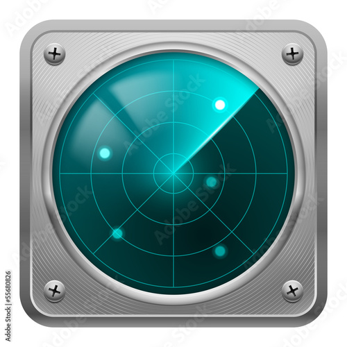 Radar screen in metal frame.