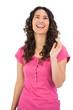 Smiling dark haired model posing