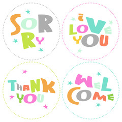 Welcome, Thank you, Sorry, Love you - grateful circles messages