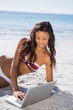 Relaxed sexy young woman in bikini using her laptop