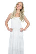 Cheerful gorgeous model in white dress posing