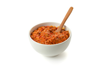 Ajvar, a delicious roasted red pepper and eggplant dish