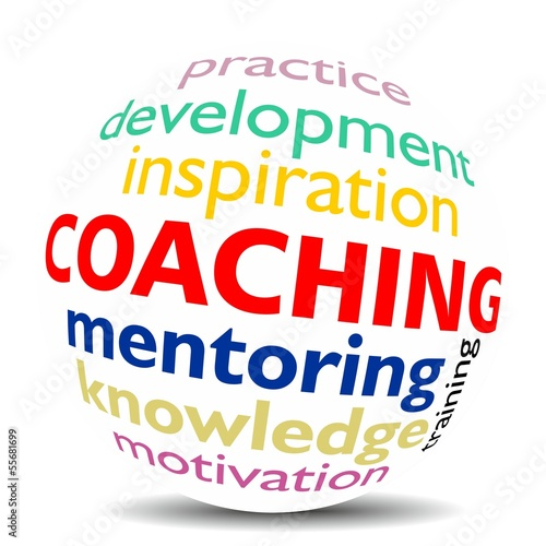 COACHING - word cloud as colored word sphere - NEW TOP TREND