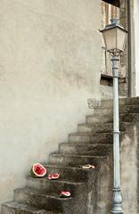 avanzi di anguria su scala di cemento
