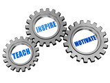 teach, inspire, motivate in silver grey gears