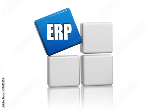 blue cube with letters ERP on boxes
