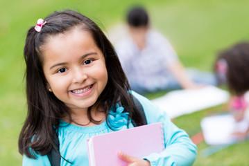 Happy girl at school