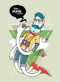 Fototapety Hipster graffiti character