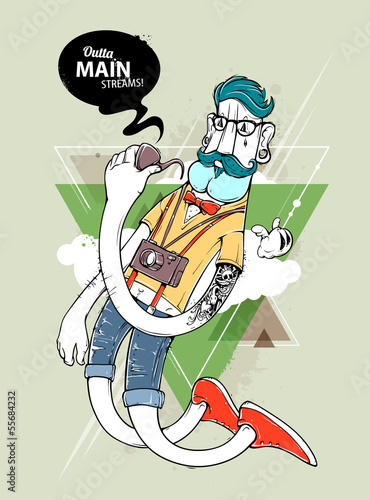Hipster graffiti character © Vecster