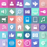 flat styled social + mobile web icons