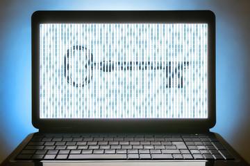 black laptop  no sign keyboard binary numbers