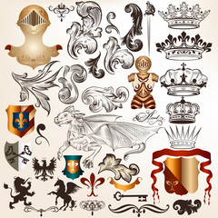 Collection of vintage vector heraldic elements
