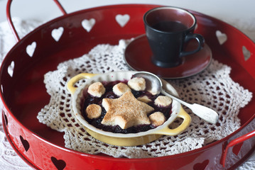 Cobbler with red fruits and coffee