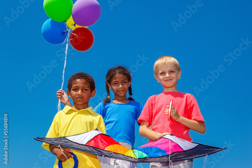 Balloons and a kite